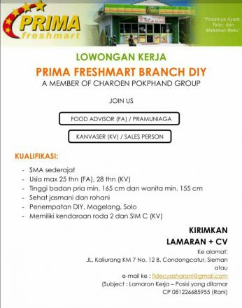 Lowongan Kerja Prima Freshmart Branch DIY