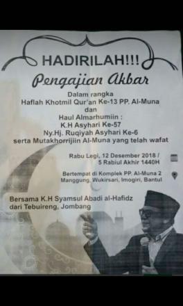 Pengajian Akbar - Haflah Khotmil Quran dan Haul KH Asyhari
