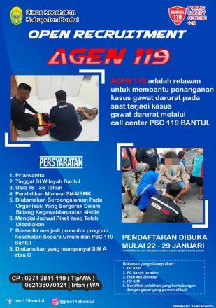 Dinas Kesehatan Kabupaten Bantul Buka Lowongan Agen PSC 119