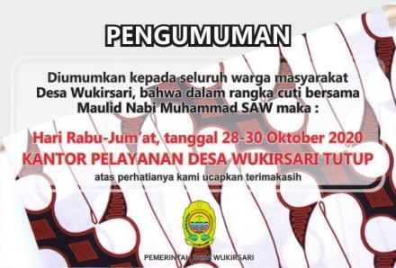 Cuti Bersama Maulid Nabi Muhammad SAW, Kantor Pelayanan Desa Wukirsari Tutup