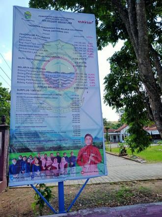 Pasang Baliho APBKal : Pemerintah Kalurahan Wukirsari Wujudkan Transparansi Pengelolaan Keuangan Kal