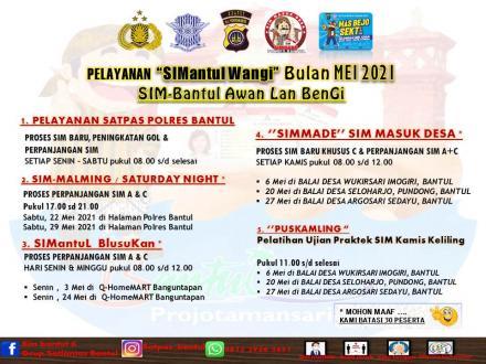 Jadwal Pelayanan SIM Keliling Polres Bantul - SIMantul Wangi Mei 2021