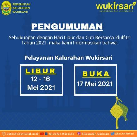 Informasi Jadwal Libur dan Buka Pelayanan Kalurahan Wukirsari